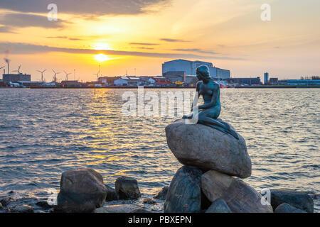 COPENHAGEN, DENMARK - APRIL 12, 2018: Copenhagen sunrise city skyline at Little Mermaid Statue, Copenhagen Denmark - Stock Photo