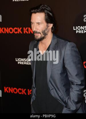 Actor Keanu Reeves at the Los Angeles premiere of his movie 'Knock Knock' at the TCL Chinese Theatre, Hollywood. October 7, 2015  Los Angeles, CA Keanu Reeves 170 ------------- Red Carpet Event, Vertical, USA, Film Industry, Celebrities,  Photography, Bestof, Arts Culture and Entertainment, Topix Celebrities fashion /  Vertical, Best of, Event in Hollywood Life - California,  Red Carpet and backstage, USA, Film Industry, Celebrities,  movie celebrities, TV celebrities, Music celebrities, Photography, Bestof, Arts Culture and Entertainment,  Topix, Three Quarters, vertical, one person,, from th - Stock Photo