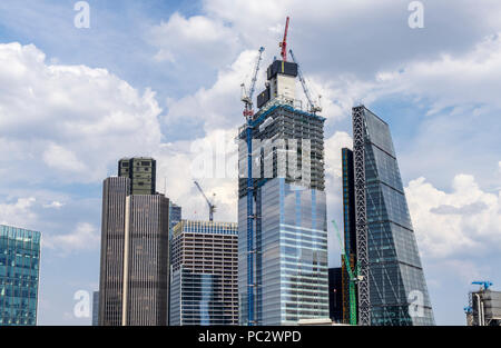 Core of partially completed 22 Bishopsgate under construction in the City of London EC2 financial district between Tower 42 and The Cheesegrater - Stock Photo