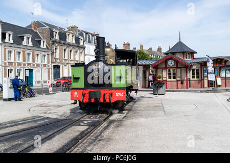 The Chemin de Fer De la Baie De Somme, Steam Train, on the Turntable in St, Valery-Sur-Somme Station, Picardy, France - Stock Photo