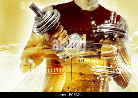 Gym equipment and sport concept.Weights and training background.Dumbbells. Double exposure. Healthy life and gym exercise. - Stock Photo