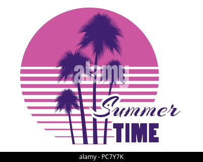 Summer time retro futuristic landscape with palm trees. Neon sunset in the style of 80s. Synthwave retro background. Retrowave logo. Vector illustrati - Stock Photo