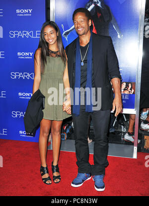 Gary Dourdan, Daughter at The Sparkle Premiere at the Chinese Theatre In Los Angeles.Gary Dourdan, Daughter ------------- Red Carpet Event, Vertical, USA, Film Industry, Celebrities,  Photography, Bestof, Arts Culture and Entertainment, Topix Celebrities fashion /  Vertical, Best of, Event in Hollywood Life - California,  Red Carpet and backstage, USA, Film Industry, Celebrities,  movie celebrities, TV celebrities, Music celebrities, Photography, Bestof, Arts Culture and Entertainment,  Topix, vertical,  family from from the year , 2012, inquiry tsuni@Gamma-USA.com Husband and wife - Stock Photo