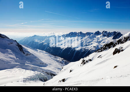 Argentiere Glacier and Aiguilles Rouges, Chamonix, Haute Savoie, Rhone Alpes, French Alps, France, Europe - Stock Photo
