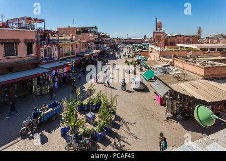 Elevated view of Jemaa el Fna (Djemaa el Fnaa) Square, UNESCO World Heritage Site, during daytime, Marrakesh, Morocco, North Africa, Africa - Stock Photo