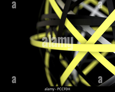 Modern abstract background. Yellow and black 3d rings - Stock Photo