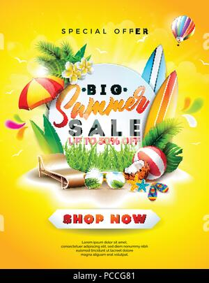 Summer Sale Design with Flower, Beach Holiday Elements and Exotic Leaves on Yellow Background. Tropical Floral Vector Illustration with Special Offer Typography for Coupon, Voucher, Banner, Flyer, Promotional Poster, Invitation or greeting card. - Stock Photo