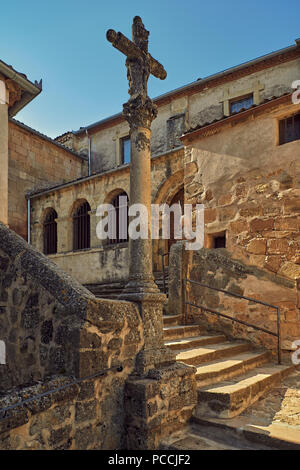 Church of San Bartolome, romanica of the 12th century, parish on a basement for defense outside the walls in the city of Sepulveda, Segovia, Spain - Stock Photo