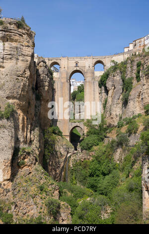 Puente Nuevo (New Bridge) and the white town perched on cliffs, Ronda, Andalucia, Spain, Europe - Stock Photo