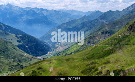 a view of Col du Tourmalet in pyrenees mountains - Stock Photo