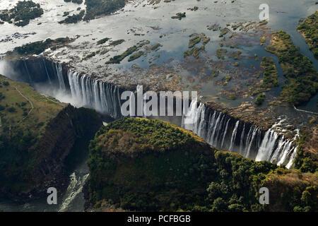 Aerial view, Victoria Falls, Zimbabwe, Africa - Stock Photo
