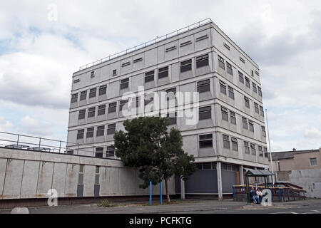 Weston-super-Mare, UK. 1st August, 2018. It has been announced that North Somerset Council intends to demolish Weston-super-Mare's former police station and replace it with a block of upmarket flats as part of its plans for the regeneration of the town centre. The police station, which dates from the 1970s and was designed by Bernard Adams, closed in 2017 and demolition work is expected to start in November 2018 after asbestos has been removed from the building. Keith Ramsey/Alamy Live News - Stock Photo