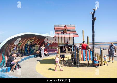 Children's playground on Marine Walk, Roker, Sunderland, Tyne and Wear, England, United Kingdom - Stock Photo