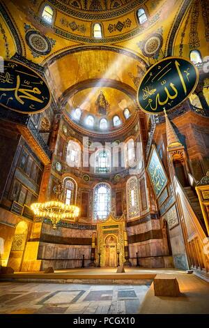 Interior of Hagia Sophia Museum, Istanbul, Turkey - Stock Photo