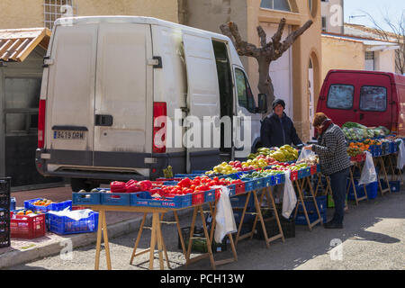 Market day in small town in Spain, April 2018, Oria Almeria Andalucia Spain - Stock Photo