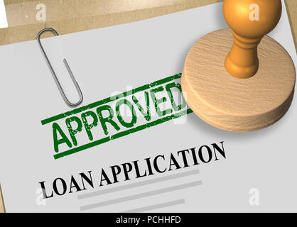3D illustration of APPROVED stamp title on loan application document - Stock Photo