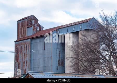 The concrete (1950's) and Oregon timber grain silos of the former Tremain's Victoria Mill in Bathurst NSW, Australia - Stock Photo