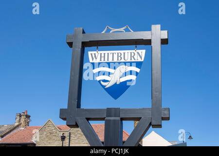 Village sign, East Street, Whitburn, Tyne and Wear, England, United Kingdom - Stock Photo