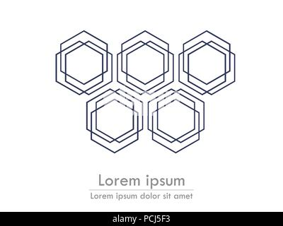 Hexagonal background line with text. Stylized card template. Vector EPS 10 - Stock Photo