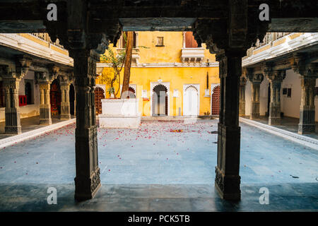 Bagore Ki Haveli, historical building in Udaipur, India - Stock Photo