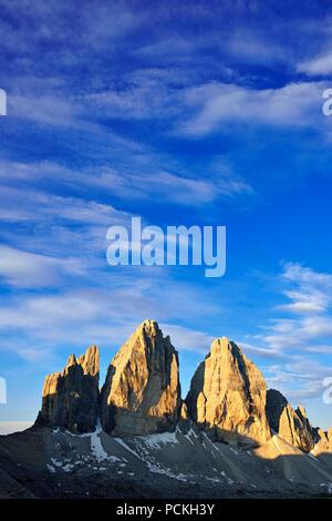Three Peaks of Lavaredo North Walls, Sexten Dolomites, Hochpustertal valley, South Tyrol, Italy - Stock Photo