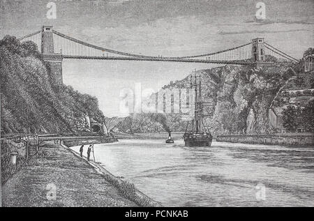 the Clifton bridge crossing river Avon near Bristol, England, digital improved reproduction of an historical image from the year 1885 - Stock Photo