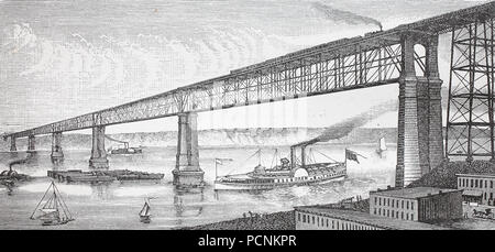 the bridge crossing river Hudson near Poughkeepsie, USA, digital improved reproduction of an historical image from the year 1885 - Stock Photo