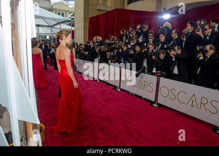 HOLLYWOOD, CA - FEBRUARY 22:  Rosamund Pike arrives at the 87th Annual Academy Awards at Hollywood & Highland Center on February 22, 2015 in Hollywood, California.   People:  Rosamund Pike - Stock Photo