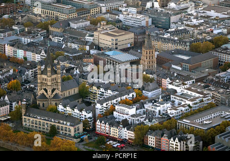 Aerial view, old town Cologne with Great St. Martin Church and Cologne Town Hall Tower, Cologne, Rhineland, Cologne Bay, North Rhine-Westphalia, Germany, Europe - Stock Photo