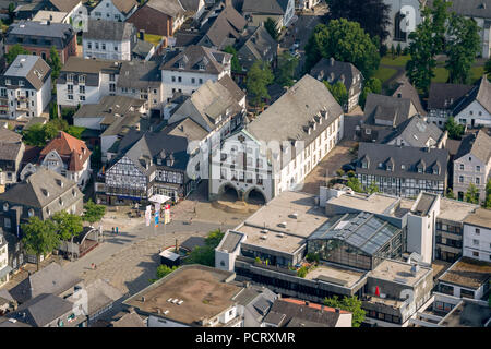 historic City Hall, former guildhall with baroque gable from master builder Johann Matthias Kitz, Brilon city center, aerial view of Brilon - Stock Photo