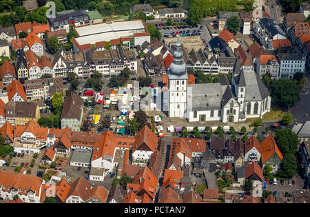 Protestant St. Mary's Church with Market Square, Lippe St. Mary's Church, market stands, market stalls, City Museum, Lippstadt, Soester Börde, district Soest, planned town, Germany's oldest founding city, North Rhine-Westphalia, Germany - Stock Photo