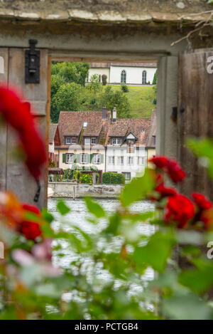 View from the monastery St. Georgen to the river and the old town, Stein am Rhein, canton Schaffhausen, Switzerland - Stock Photo