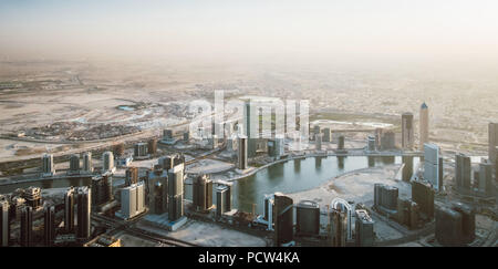 Beautiful view from the top of dubai skyline - Panorama - Stock Photo