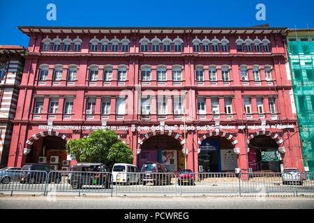 COLOMBO SRI LANKA - DEC 24, 2016: The red building of State pharmaceuticals corporation on December 24, 2016. Colombo. Sri Lanka. - Stock Photo