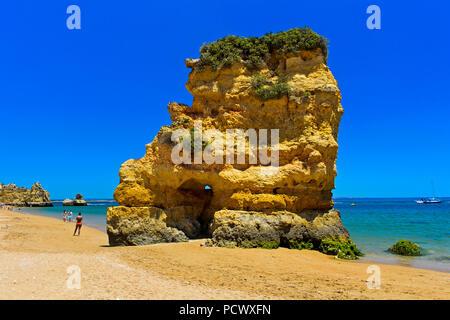 Rock formation at the Praia da Dona Ana beach, Lagos, Algarve, Portugal - Stock Photo