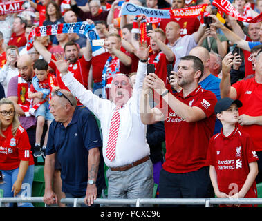 Aviva Stadium, Dublin, Ireland. 4th Aug, 2018. Pre Season football friendly, International Champions Cup, Liverpool versus Napoli; Liverpool fans cheer on their team Credit: Action Plus Sports/Alamy Live News - Stock Photo