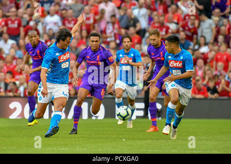 Dublin, Ireland. 4th Aug, 2018. Roberto Inglese escapes with the ball during the Liverpool vs SSC Napoli Pre-Season Friendly in Aviva Stadium. Credit: Ben Ryan/SOPA Images/ZUMA Wire/Alamy Live News - Stock Photo