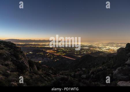Los Angeles California predawn San Fernando Valley view.  Shot from Rocky Peak Park near Simi Valley. - Stock Photo
