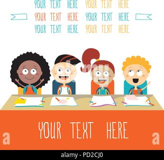 Happy kids at lesson Back to school theme - Stock Photo