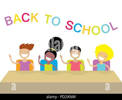 Happy school kids studying and raising their hands to answer. - Stock Photo