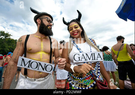 Carnival, Brazil - February 12, 2018: Revelers gather during the Sergeant Pepper street block in Rio de Janeiro - Stock Photo