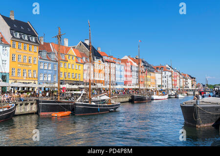 Historic 17th and 18th century buildings along the Nyhavn canal, Copenhagen, Denmark - Stock Photo