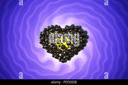 Black heart made of spheres with reflections over involute bright violet background. Happy valentines day 3d illustration - Stock Photo