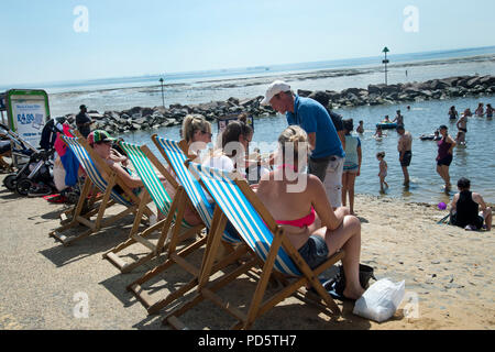 Southend on Sea, Essex. On the beach at low tide. - Stock Photo