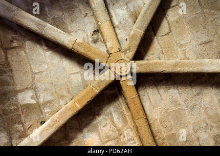 View of the rib vault ceiling inside the donjon tower of the medieval castle of Sabugal, Portugal - Stock Photo