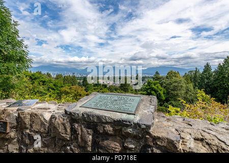 View of the Coastal Mountains and Vancouver from the lookout at Queen Victoria Park. - Stock Photo