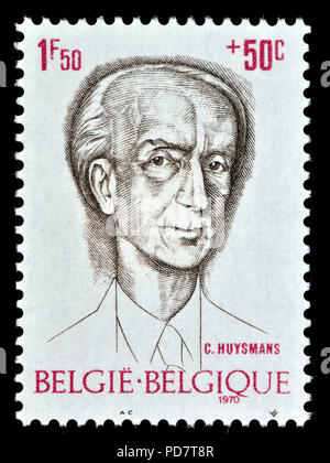 Belgian postage stamp (1970) : Charles-Marie-Georges Huysmans (1848 – 1907) French novelist and art critic who published his works as Joris-K - Stock Photo