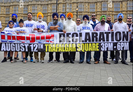London 8th August. Supporters of a 2020 referendum on Punjab independence 'to liberate Punjab, currently occupied by India' gather outside Parliament in Westminster ahead of an event in Trafalgar Square on Sunday 12th. They are campaigning for an unofficial, not legally-binding referendum in 2020 that they hope will put pressure on the UN and other international bodies to reestablish Punjab as an independent state. Credit: PjrNews/Alamy - Stock Photo