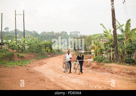 Secondary school students travel to school with bicycles early in the morning in Mukono District, Uganda. - Stock Photo
