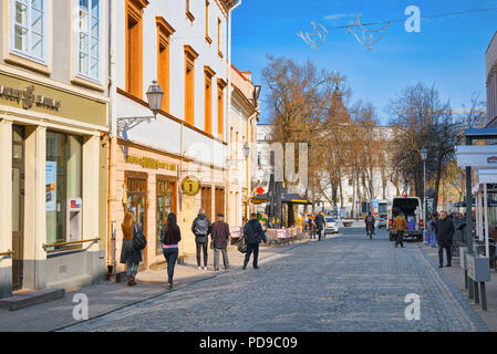 Vilnius, Lithuania - June 17, 2015: Downtown of the city, on Pilies street in the historic part of the old city of Vilnus. Lithuania. - Stock Photo